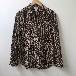 Vintage leopard print silk blouse size S